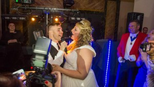A happy Bride enjoying her big day with Gary Barlow and The Right Toast Master - Peter Tautz