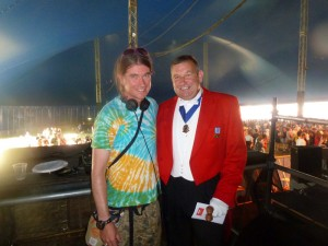 Radio 1 DJ Rob d Bank at the Isle of Wight Bestival with Peter Tautz AKA The Right Toastmaster